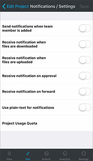 Manage Project Activity Notifications